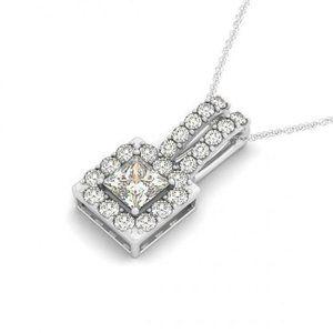 Sparkling 1.60 Carats Princess Diamond Pendant Nec